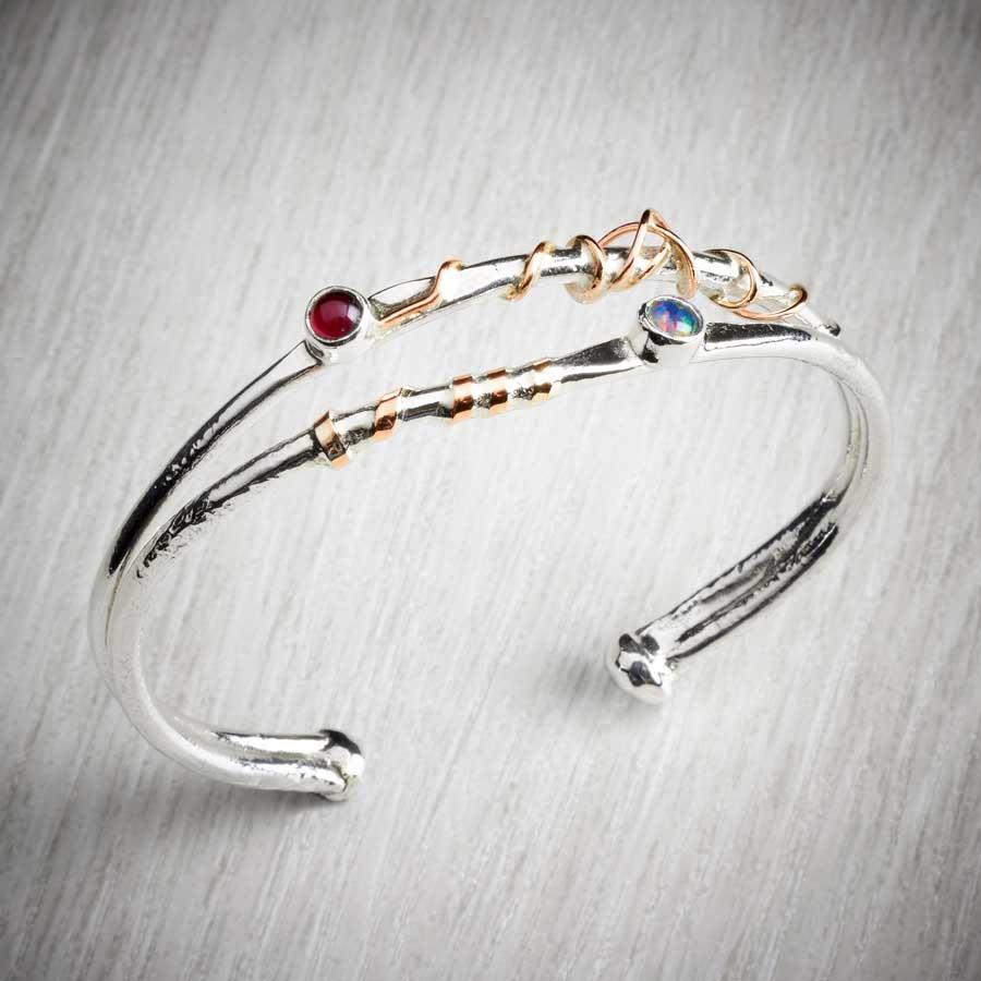 Twffa Silver Open Bangle/Torque with gold wire twist and gemstones, image property of THE JEWELLERY MAKERS