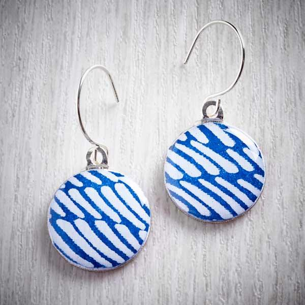 blue and white earrings made from silver sixpences by Leigh Shepherd, The Jewellery Makers