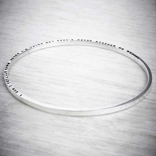Silver Tiny Text Personalised Bangle, long message by Emma White