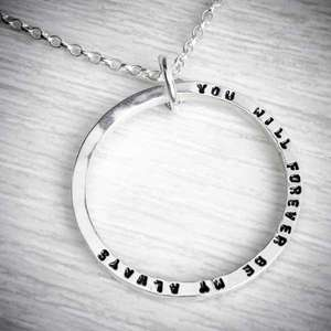Silver personalised circle necklace with tiny stamped letters