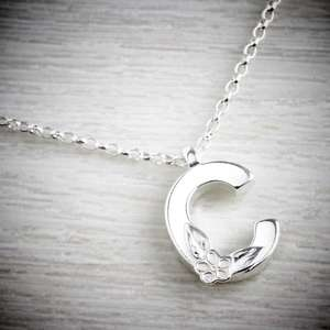 Silver initial necklace - Letter C - by Elin Mair. Image property of THE JEWELLERY MAKERS