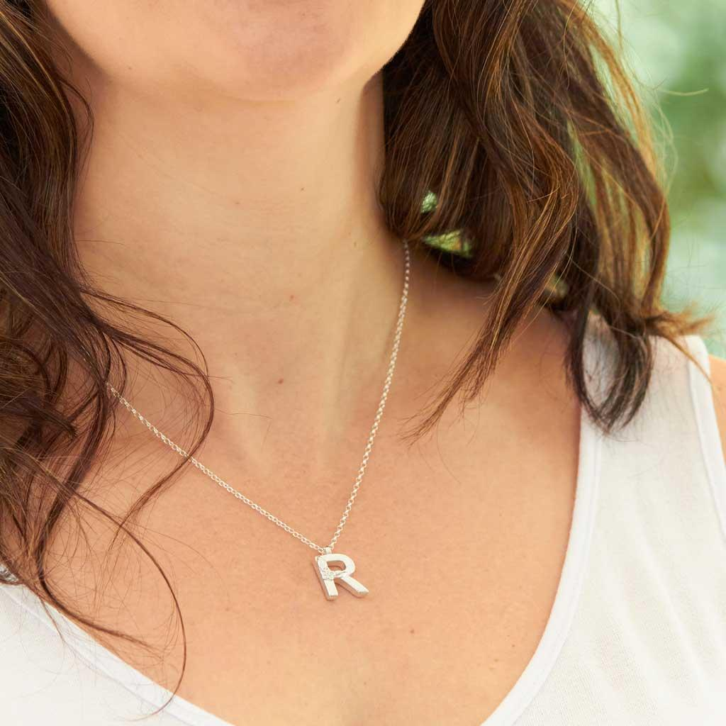 Silver Letter R Necklace, made by Elin Mair, Image property of THE JEWELLERY MAKERS