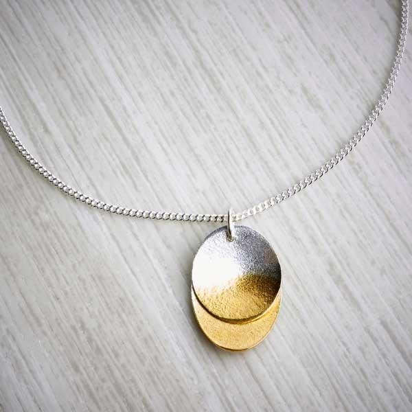 Double layer silver and gold necklace by Melanie Ankers, Kokkino. Image property of THE JEWELLERY MAKERS