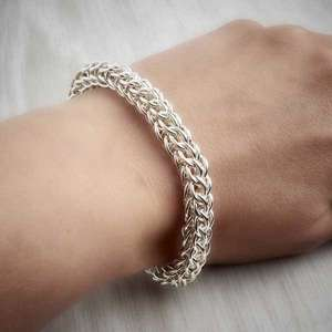 Silver Chainmaille Full Persian Bracelet, pictured worn, by Laura Brookes