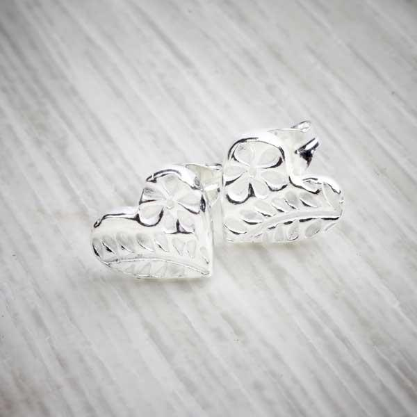 Silver clay floral heart stud earrings by Elin Mair