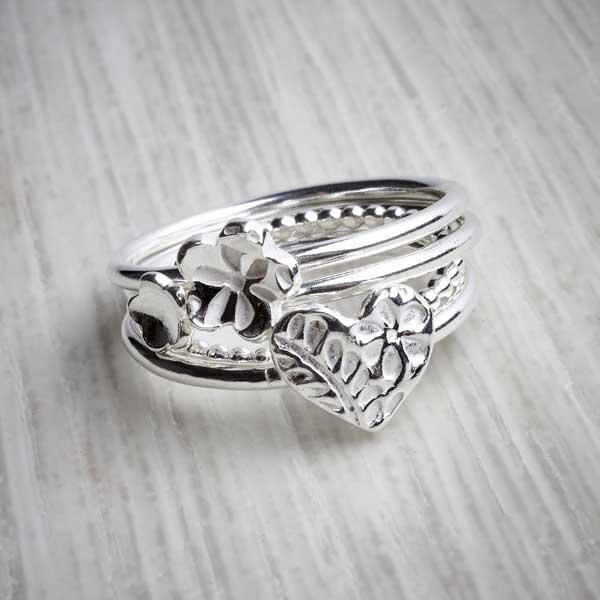 Silver clay Flower heart bobble stacking ring