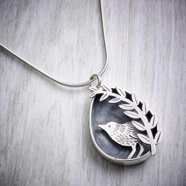 Silver Wren and Leaves Box Pendant by Helen Shere