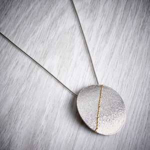 Silver and gold large oval necklace crop by Sara Buk