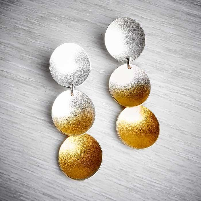 Large Electra Silver and Gold Triple Drop stud earrings. Image property of THE JEWELLERY MAKERS