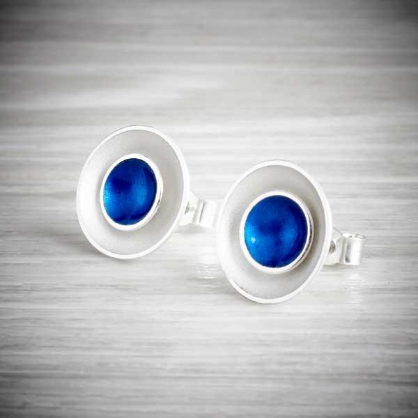 Silver and blue enamel two in one earrings by Kokkino