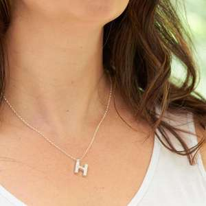 Silver Letter H Necklace, made by Elin Mair, Image property of THE JEWELLERY MAKERS