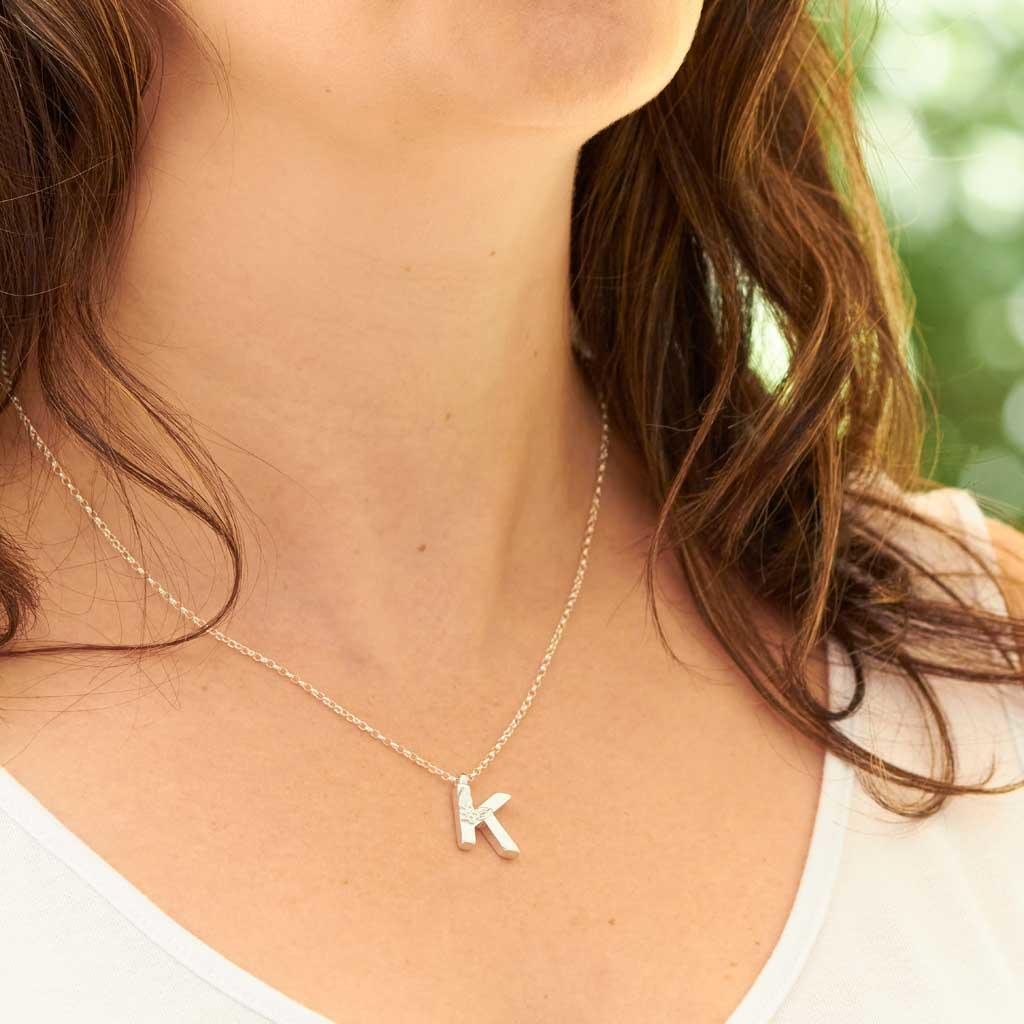 Silver Letter K Necklace, made by Elin Mair, Image property of THE JEWELLERY MAKERS