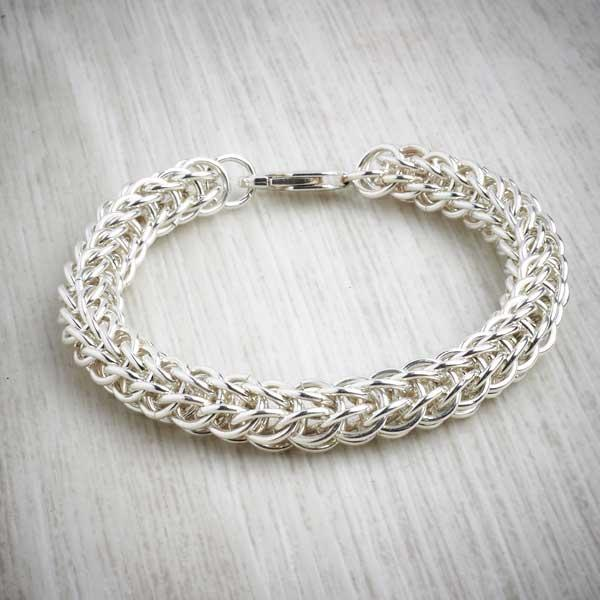 Silver Chainmaille Full Persian Bracelet by Laura Brookes