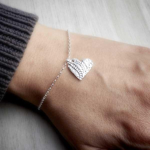 Silver clay floral heart bracelet with medium charm by Elin Mair