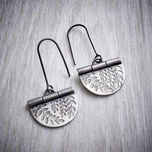 Oxidised silver vines hook earrings by Helen Shere