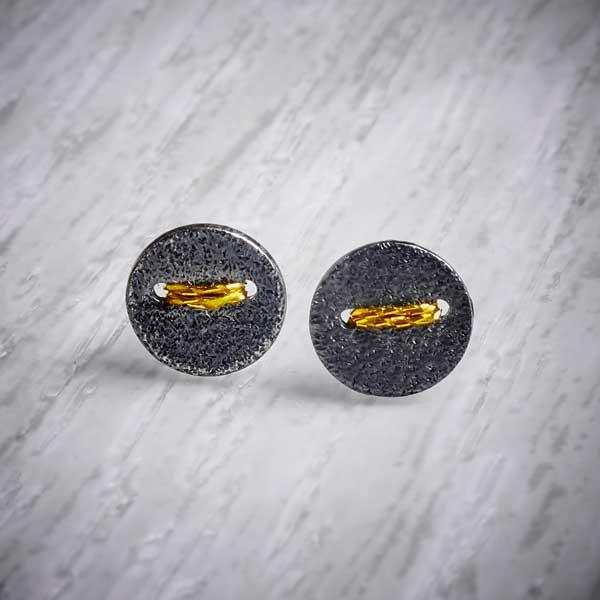 Small Round Oxidised Silver Studs sewn with gold thread, by Sara Buk
