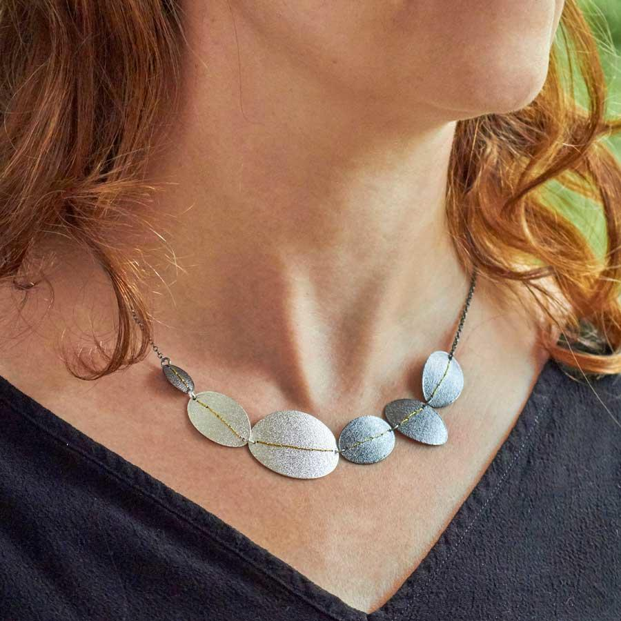 Silver and oxidised silver Necklace by Sara Bukhumnhe