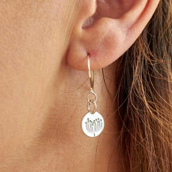 Silver Autumn Dangle Earrings by Helen Shere, worn on a model