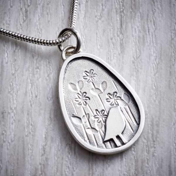 birds and flowers silver necklace