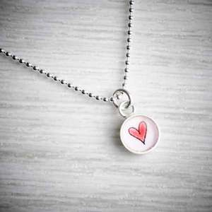 Tiny Silver & Resin Red Heart Charm Pendant by Clare Collinson, image property of THE JEWELLERY MAKERS