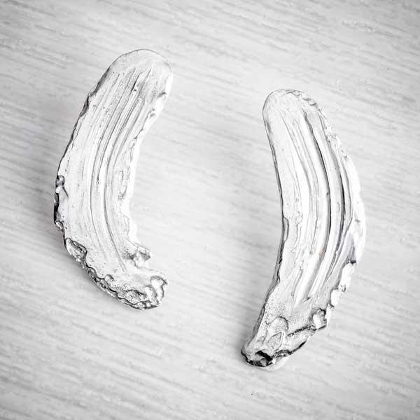 Silver Clay Brushstroke Earrings by Becca Macdonald for THE JEWELLERY MAKERS