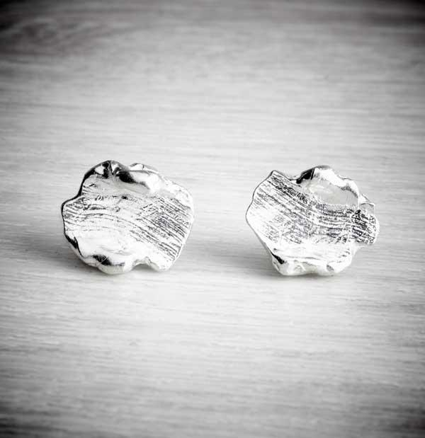 Silver smudged stud earrings by Becca Macdonald, sold and photographed by THE JEWELLERY MAKERS
