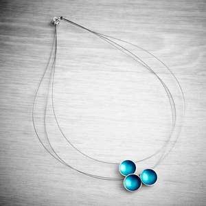 Halo Triple Strand  Silver and Enamel Necklace by Melanie Ankers, Kokkino. Image property of THE JEWELLERY MAKERS