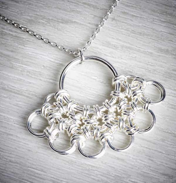 Fan Silver Chainmaille Necklace by Laura Brookes