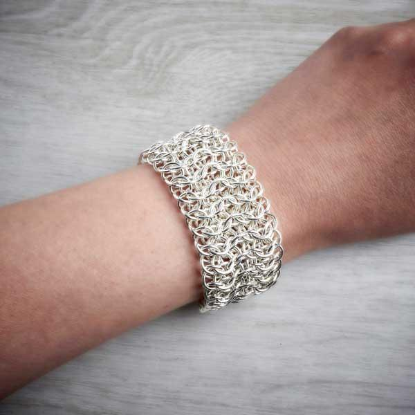 Silver Chainmaille Cuff worn on a hand