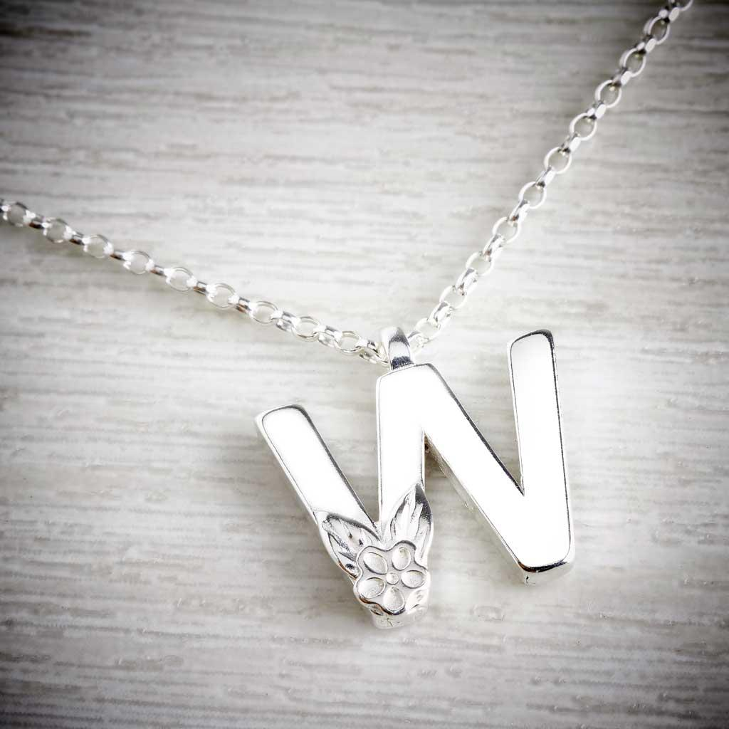 Silver Letter W Necklace, made by Elin Mair, Image property of THE JEWELLERY MAKERS
