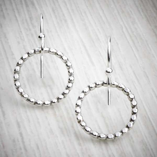 Bobble ring hook earrings, handmade earrings on a grey background