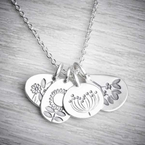 Four seasons silver handmade necklace by Helen Shere