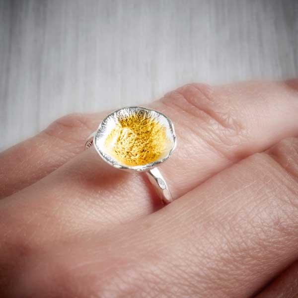 Silver and Gold Oyster Cup Ring by Fi Mehra