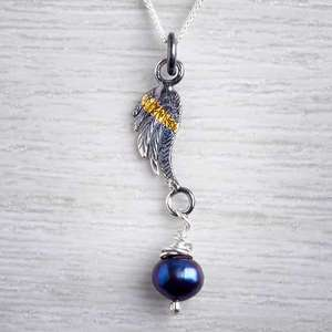Angel Wing Oxidised Pendant by Fi Mehra, silver and gold keum boo with a fresh water dark pearl