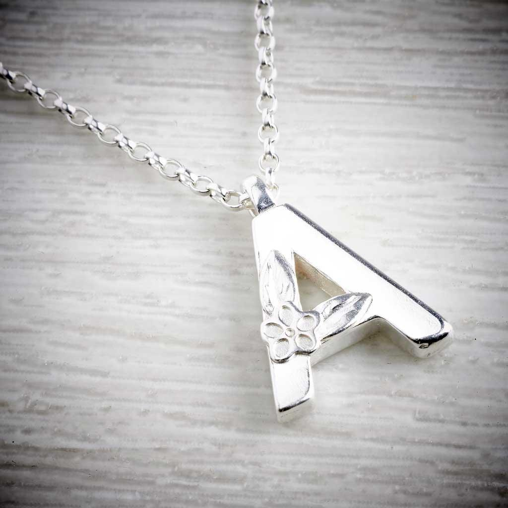 Silver Alphabet Necklace, by Elin Mair. Image property of THE JEWELLERY MAKERS