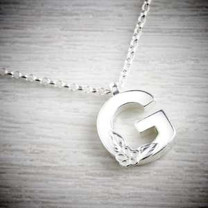 Silver Letter G Necklace, made by Elin Mair, Image property of THE JEWELLERY MAKERS