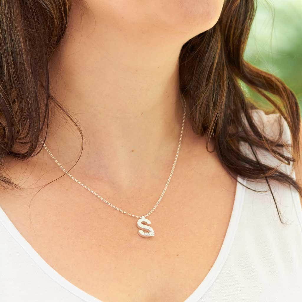 Silver Letter S Necklace, made by Elin Mair, Image property of THE JEWELLERY MAKERS