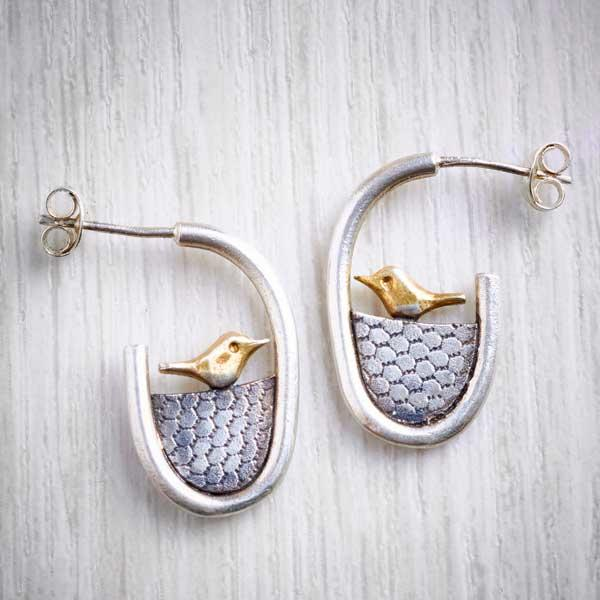 Silver Handmade Earrings with little bird by Xuella Arnold