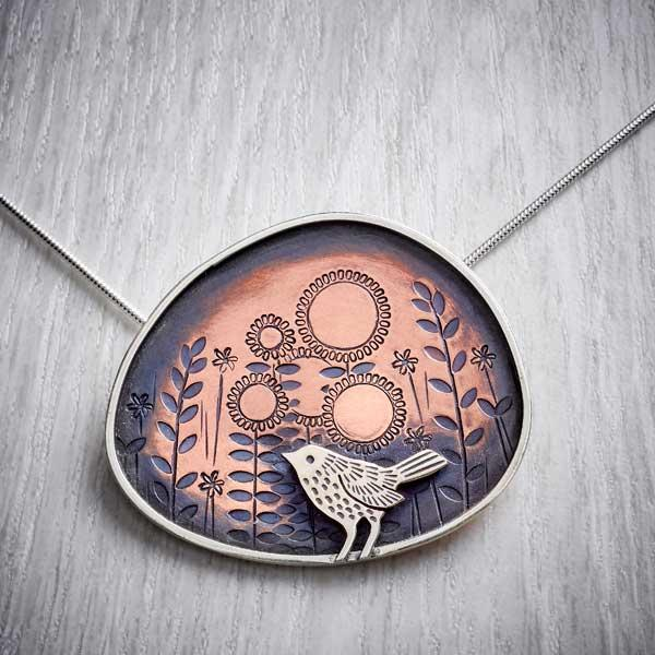 Silver and Copper Blackbird Necklace by Helen Shere