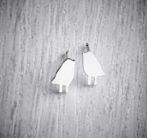 Silver Handmade Tiny Stud Earrings by Helen Shere