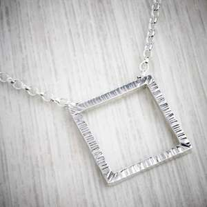 Handmade silver square necklace by Emma White