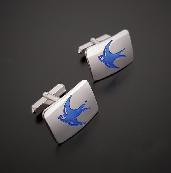 Handmade enamelled silver cufflinks - featuring  the bluebird from Cardiff City Football Club