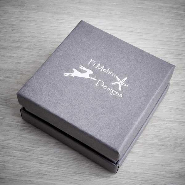 Sleek grey box packaging with a hot foil logo