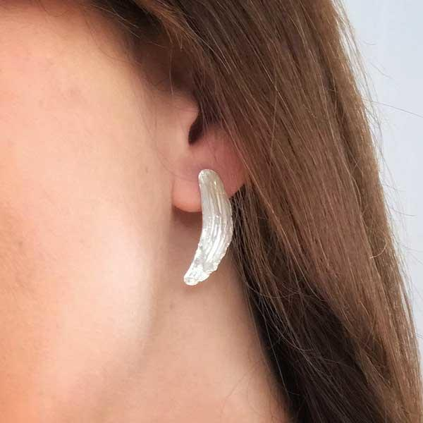 Silver Clay Brushstroke Earrings by Becca Macdonald for THE JEWELLERY MAKERS worn on
