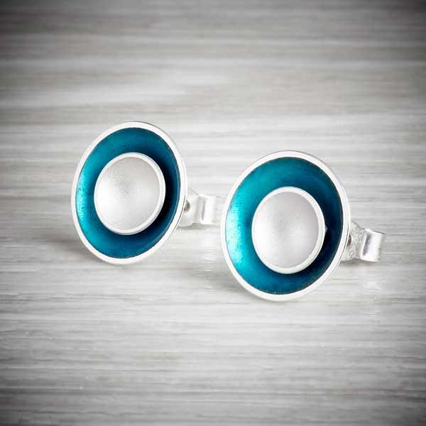 Two-in-one, Silver Inside Enamel Earrings by Kokkino