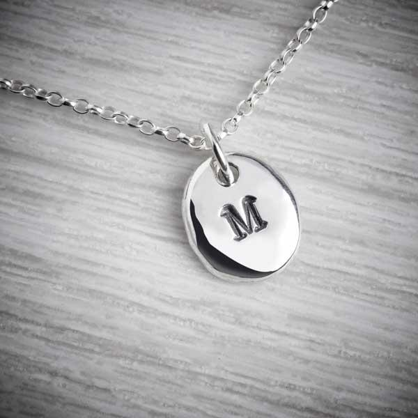 Silver Personalised Initial Pebble