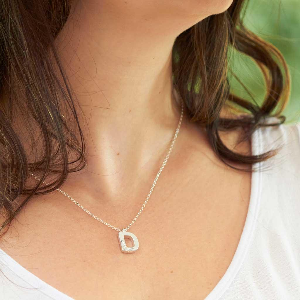 Silver Initial Necklace- Letter D - Made by Elin Mair. Image property of THE JEWELLERY MAKERS