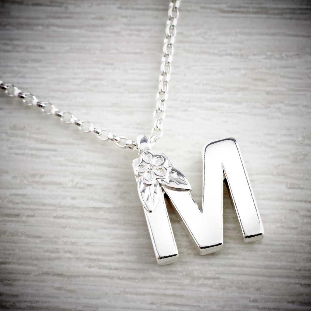 Silver letter M made by Elin air, Image property of THE JEWELLERY MAKERS.