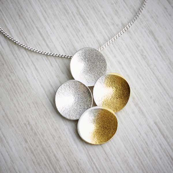 Silver and Gold Electra Quad Pendant by Melanie Ankers. Image property of THE JEWELLERY MAKERS