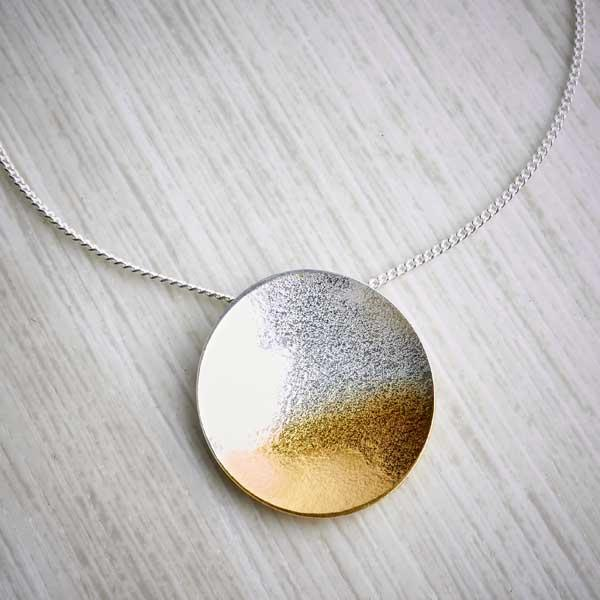 Gold and Silver Ombre large pendant by Melanie Ankers, Kokkino. Image property of THE JEWELLERY MAKERS